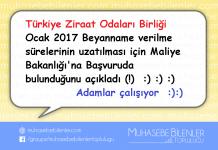 Türkiye Ziraat Odalari Birliginden beyanname uzatma basvurusu
