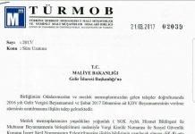 KDV Uzama Talebi Turmob'tan Maliyeye iletildi