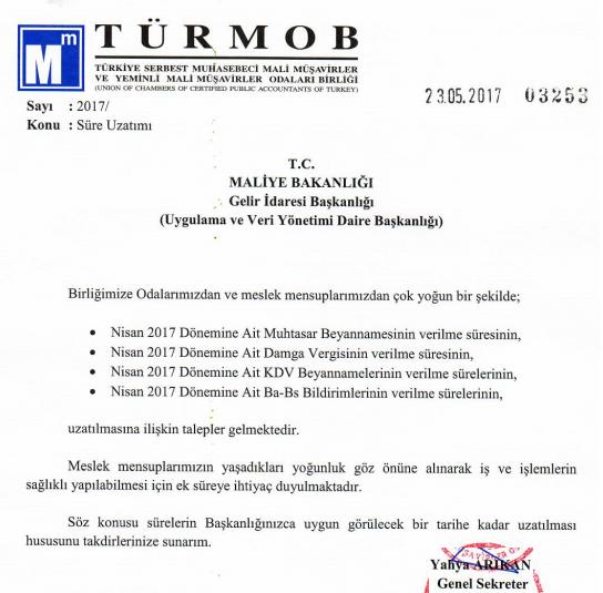 LUCA GİTTİ 04/2017 Beyannamelerine Uzama Talebi Geldi.