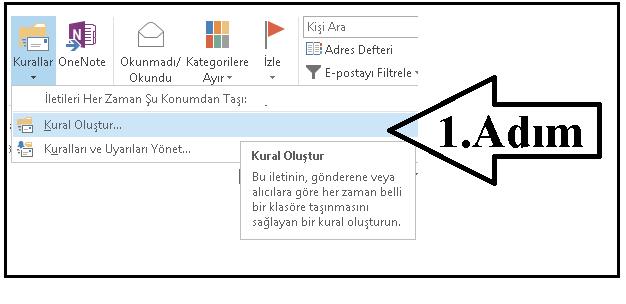 Outlook Kural oluşturma 1
