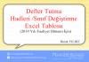 defter tutma hadleri excell